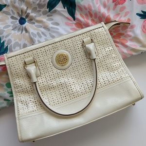 Kate Landry Cream Textured Laser Cut Handbag